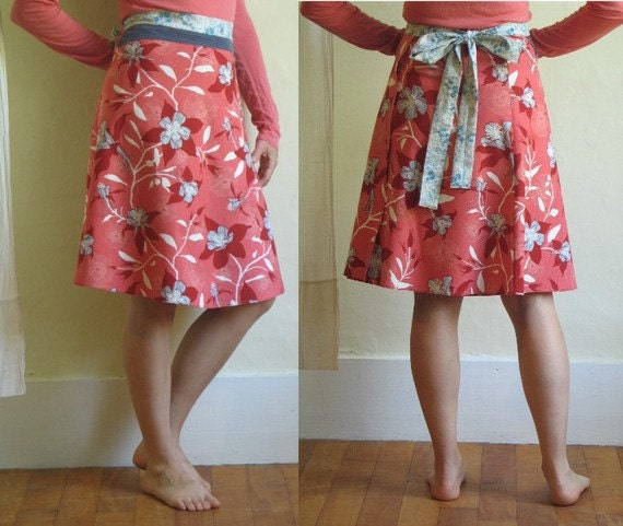 Columbine A-Line Wrap Skirt with Red Gingham Sash, size S/M