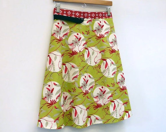 High Waisted Skirt Womens A Line Skirt Wrap Skirt Green with Vintage Fabric Sash, size M/L