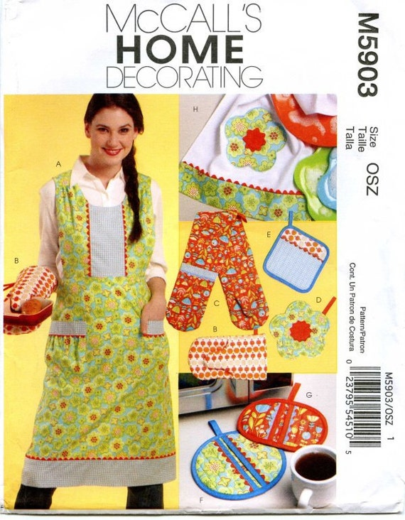 "Two Dollar Kitchen Apron, Mitts, Pot Holder, Towel, and Micorowave Pot Holder Pattern (Uncut) M5903"""" 88% OFF"""""