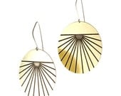 Gold circle earrings  - oxidized -  black and gold - modern - horizon
