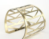 Gold cuff bracelet - Fremont bridge inspired - geometric triangles