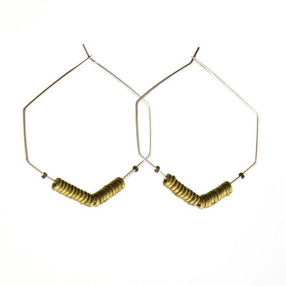 Silver hoop earrings  -  hexagon - geometric - mixed metal