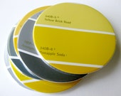 Mustard & Gray Coasters // Recycled Paint Samples // Yellow Home Decor