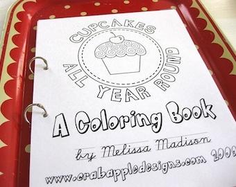 SALE //  Cupcake Coloring Book Printable