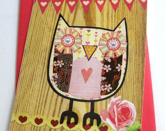 Owl Collage Card & Stationery // Pink on Woodgrain