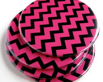 Pink & Black Home Decor // Chevron Coasters // Set of 4