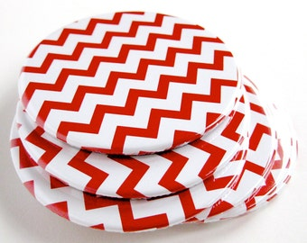 Red & White Home Decor // Chevron Coasters // Set of 6