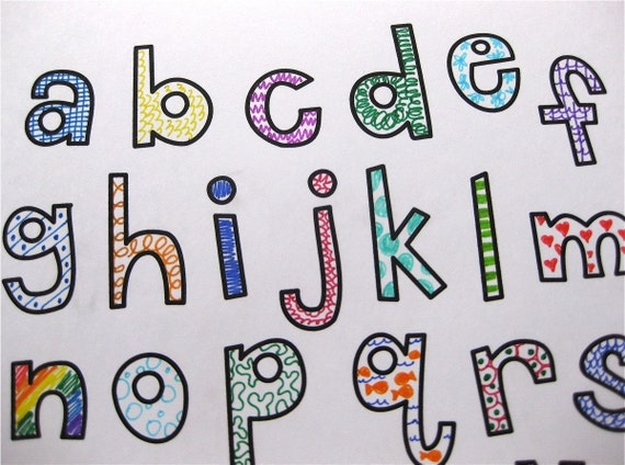 Printable // Lowercase Letters Numbers // Color your Own