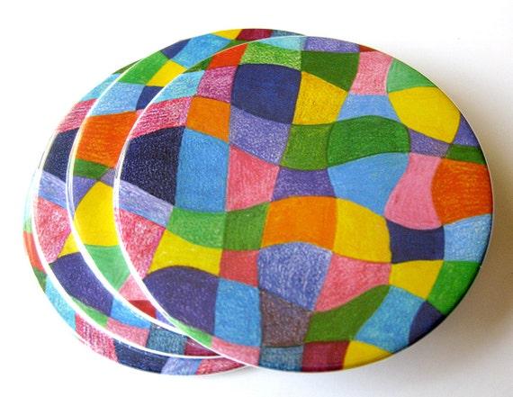 Coasters // Abstract Art // Rainbow Colors