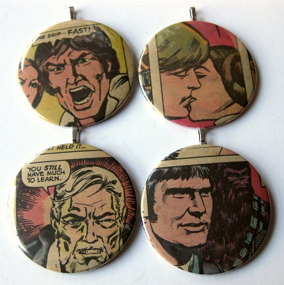 Christmas Ornaments // Star Wars // Set of 4 // Recycled Vintage Comic
