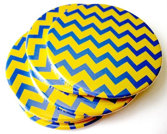 Mustard Yellow & Blue Home Decor // Chevron Coasters // Set of 4