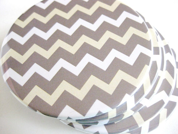 Gray Chevron Home Decor // Chevron Coasters // Set of 6
