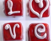 LOVE Glass bead cube square red pink heart Valentine lampwork