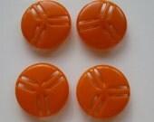 Vintage Buttons - Orange Propellers - Set of 4 Plastic or Celluloid