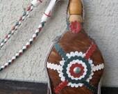Vintage Hungarian Folk Art - Shepherd's Flask - Made of Wood, Horse Hair, Leather and Metal - Puszta Folk Art