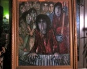Original Oil Painting by French Artist Rene Cazassus - Musicians in Night Club