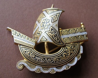 Awesome Antique Damascene Ship at Sea Brooch