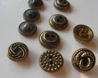 Vintage Buttons - Metal and Electroplated Plastic - Set of 12