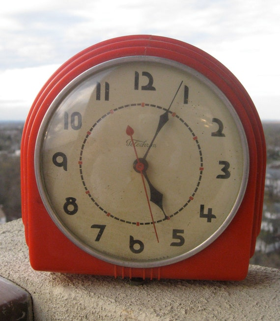 Vintage Telechron Electric Wall Clock In Bright Cherry Red