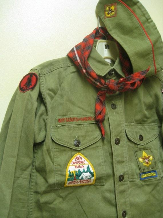 Vintage Boy Scout Uniform - 1965 - Lodi, NJ - Pants, Shirt, Hat, Scarf, Patches