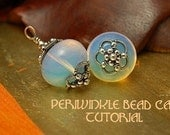 Periwinkle Bead Cap Earrings - Instant Download Wire Jewelry Tutorial Instruction PDF