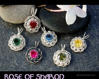 Rose of Sharon Coiled Faceted Birthstone Pendant - Instant Download Wire Jewelry Tutorial Instruction PDF