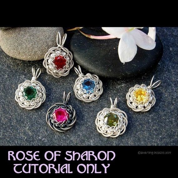 Rose of Sharon Coiled Faceted Birthstone Pendant PDF Wire Jewelry Tutorial Instructions for Mother's Day