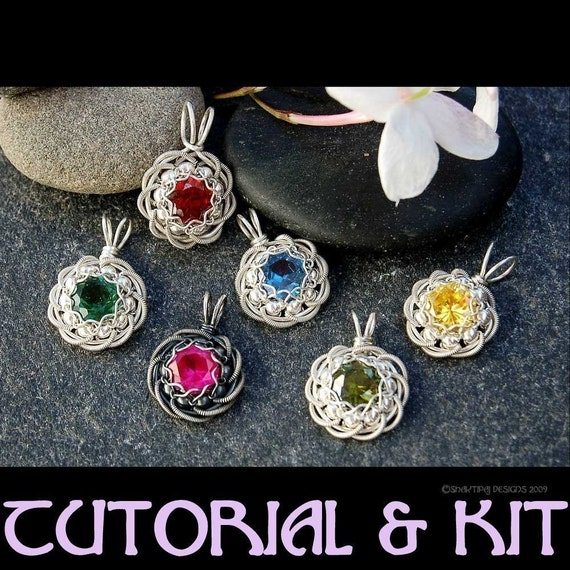 Rose of Sharon Birthstone Mother's Day Pendant PDF Wire Jewelry Tutorial Instructions and Kit