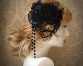 Vegan Hair Fascinator - LACE and MUSINGS COLLECTION - Sequins Lace Beads and Chain - Black - NeoRomantic