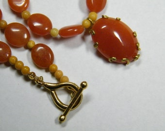 SALE // Orange Aventurine with Aragonite beaded necklace and earrings set