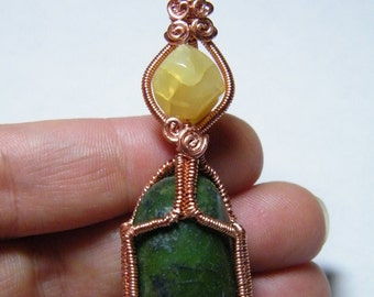 Woven wire wraped Tumbled Nephrite Jade with Honey Opal, pendant