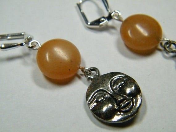 Celestial: Unique 3 dimensional moon or sun faces with Orange Aventurine, earrings