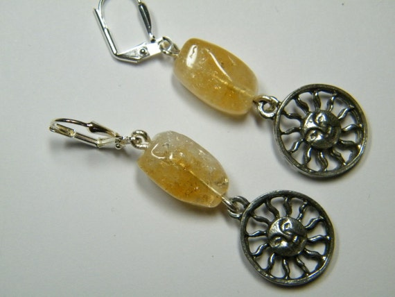 Citrine: natural Citrine with sun charms, earrings