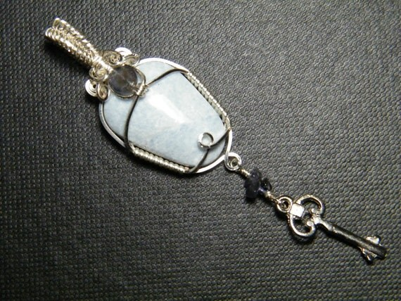 natural Angelite with Iolite pendant