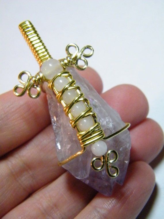 Amethyst Crystal: Large wire wrapped natural Amethyst crystal with Snow Quartz, pendant