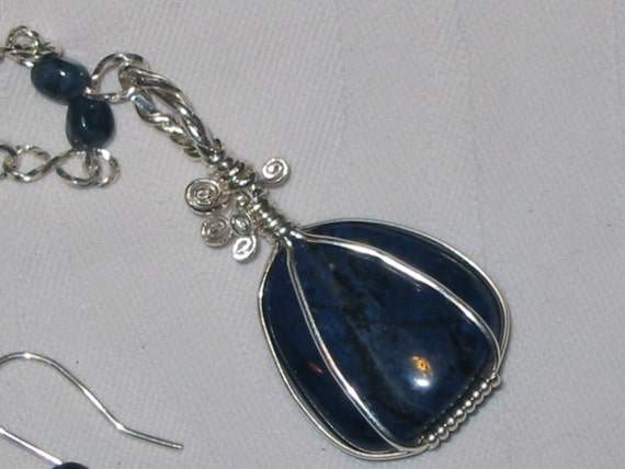 Gorgeous tumbled Dumorterite, Blue Quartz, wire wrapped in sterling silver, necklace and earrings set, jewelry
