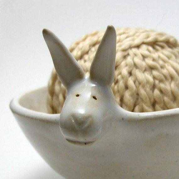 Rabbit Shaped Ceramic Yarn Bowl