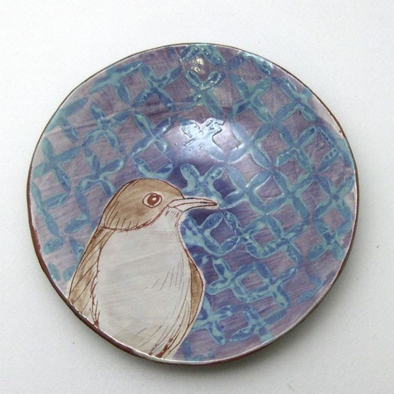 Small Bowl with Hand Drawn Bird - OOAK