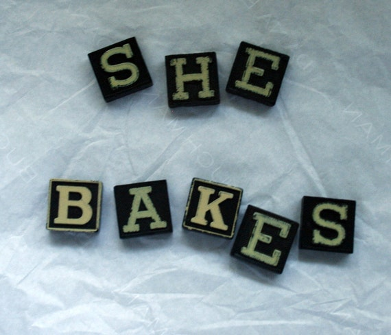 Vintage game letters SHE BAKES anagrams craft supplies