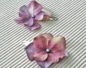 Dusty plum floral hair clips