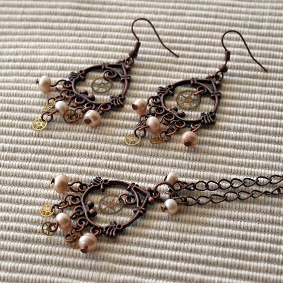 Copper and Cream steampunk earrings and necklace set