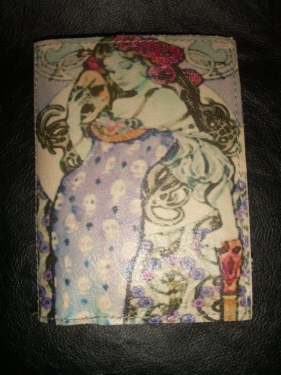 Leather Art Nouveau Pinup Girl Passport Cover