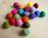20 tiny colored felt beads