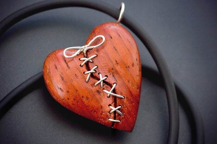 Stitched Heart Pendant Hand Carved In African Paduak