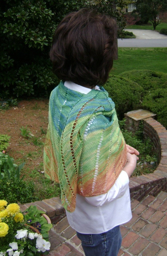 TROPICAL SUNSET Silk Wool Shawl
