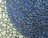 Shattered Earth, Square Stained Glass Look Original Abstract Painting