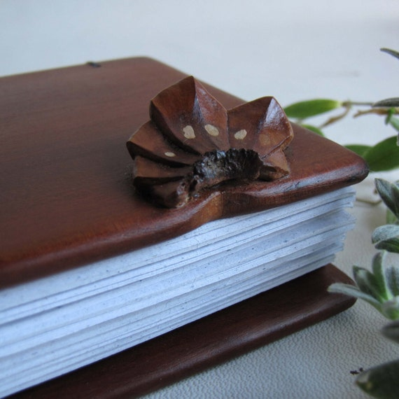SALE notebook with wooden upcycled covers  and cone application