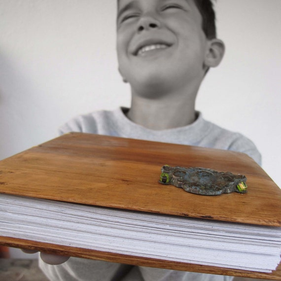 Wooden blank book,  covers from reclaimed wood , old metal application, coptic stitch hand bound recycled paper