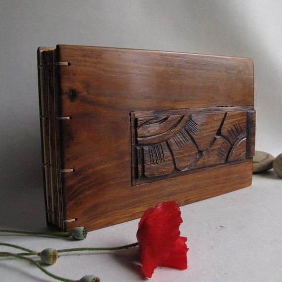 Unique album  antique up cycled wood  original carvings coptic stitch