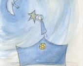 Whimsical Watercolor  Art - La Estrella (The Star) - 8 Dollar Art
